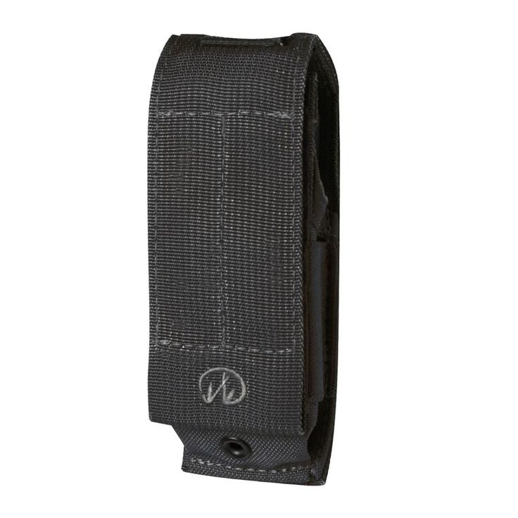 This black, nylon MOLLE system sheath features snap webbing strap for attachment on backside.
