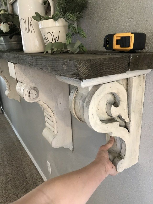 Build A Diy Mantle Shelf With Corbels And Reclaimed Wood Find Amazing Corbels For Under 20 Link To Buy Farmhouse Sha Diy Mantle Corbel Shelf Shabby Chic Room