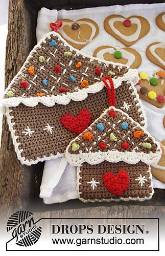 Gingerbread House Pot Holder, free crochet pattern
