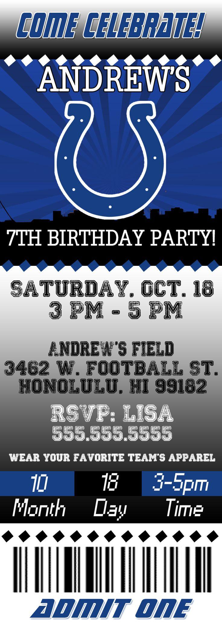 NFL Indianapolis Colts Ticket Birthday Invitation