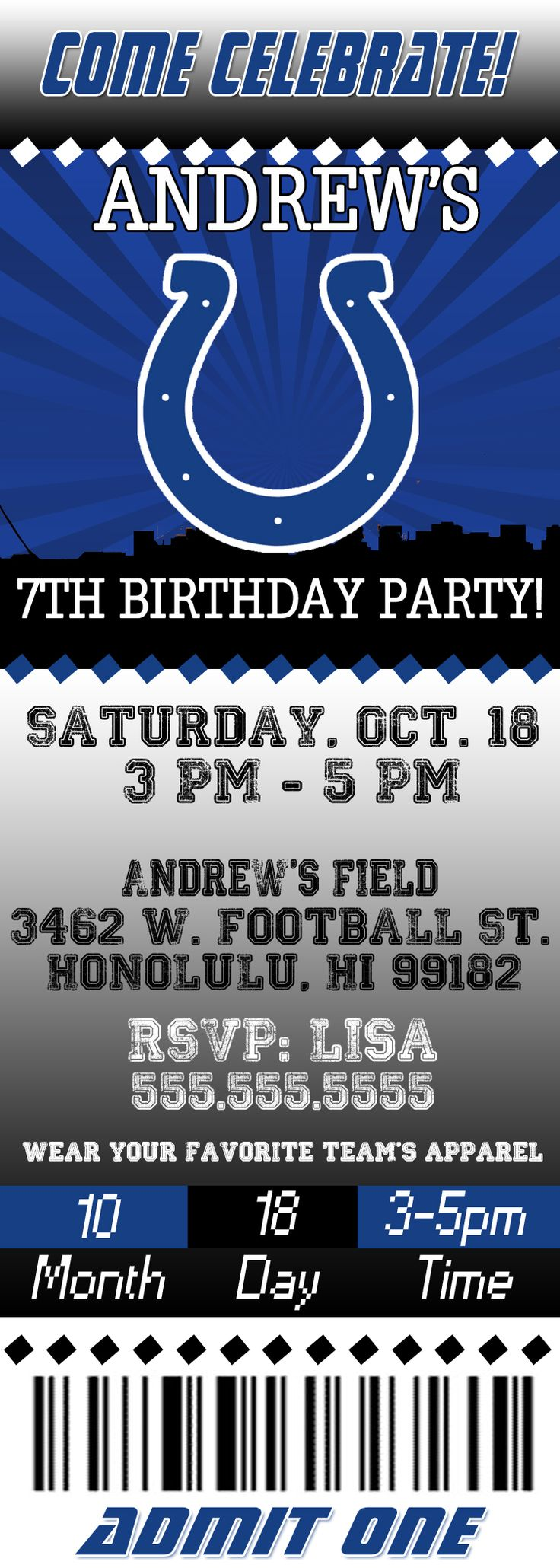NFL Indianapolis Colts Ticket Birthday Invitation