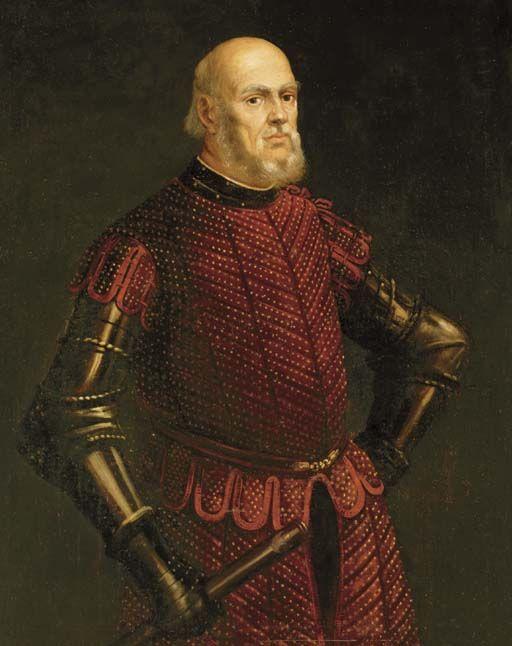 Jacopo Robusti Tintoretto (scuola?). c1575 (?). Ritratto di ufficiale veneziano. Collezione privata