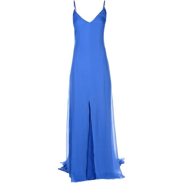 Fausto Puglisi Long Dress ($2,295) ❤ liked on Polyvore featuring dresses, bright blue, sleeveless long dress, blue v neck dress, fausto puglisi dress, long zipper dress and blue dress