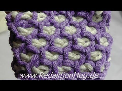 Tunisian Crochet - honeycomb pattern in rounds (IN GERMAN - If you are familiar with Tunisian Crochet you can watch this video to learn this stitch... This pattern would make a great throw/afghan... The video is very good... Deb)