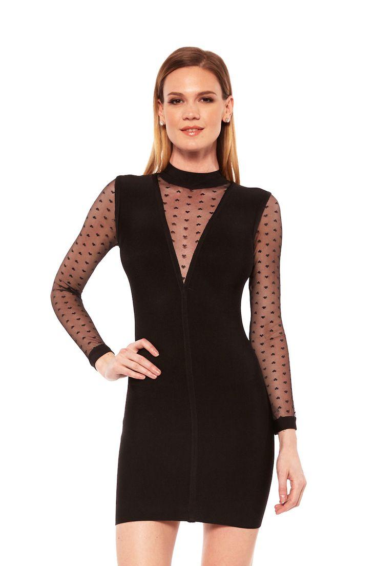 Jessica Bara Gigi Mesh V-Neck Black Dress