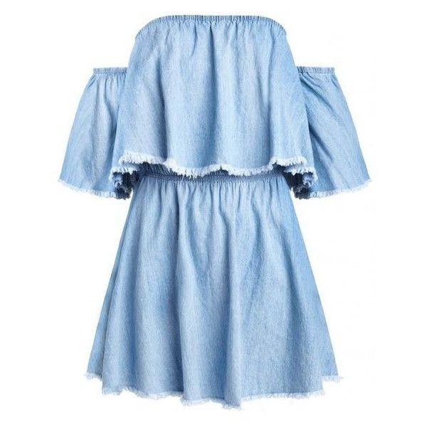 Denim Frayed Off the Shoulder Dress ❤ liked on Polyvore featuring dresses, blue dress, flutter-sleeve dress, denim ruffle dress, frilly dresses and off shoulder cocktail dress