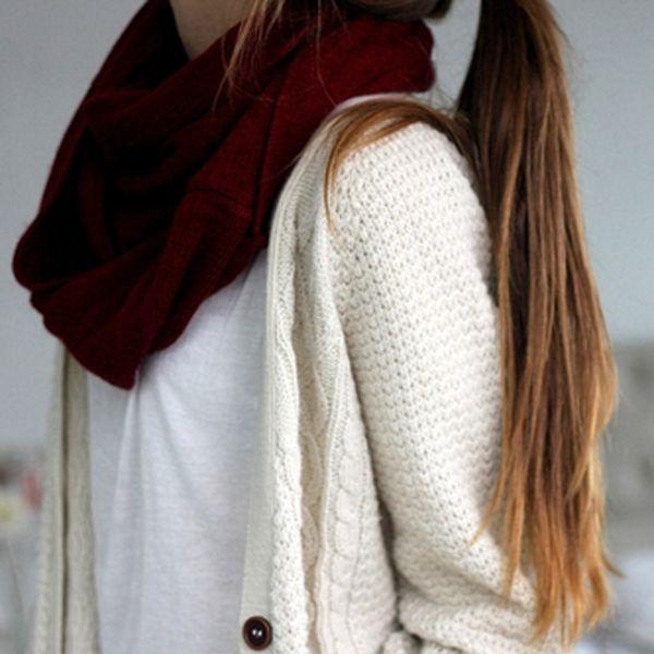 maroon scarf + knit cardigan