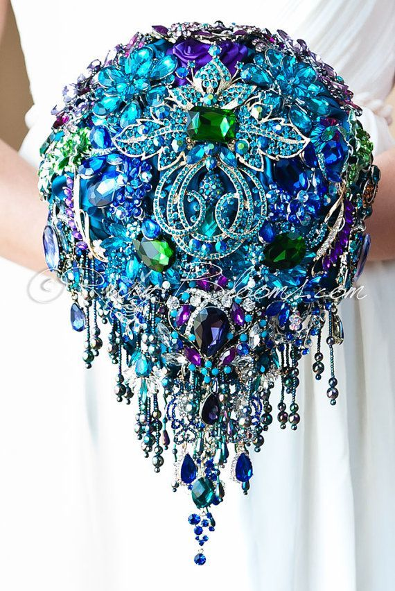 "Cascading Blue Teal Peacock Wedding Brooch Bouquet. ""Peacock Crown"" Blue, Purple, Teal Wedding Bouquet. Bridal Broach Bouquet. Ruby Blooms"