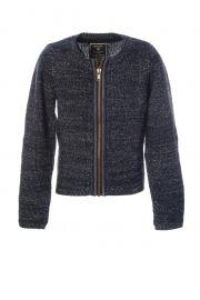 Geisha jeans Gebreid vest met rits en lurex . Geisha Fashion for girls! Te koop bij www.koflo.nl