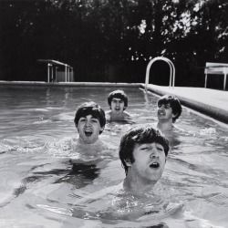 """life: """"Happy 77th birthday to the legendary Ringo Starr - born in Liverpool, England, July 7, 1940. He is pictured here with John, Paul and George in a pool in Miami Beach, 1964. (John Loengard—The LIFE Picture Collection/Getty Images) #LIFElegends..."""