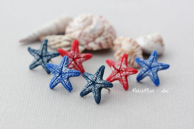 Clous/Puces d'Oreilles #Etoile de #Mer, Rouge, Bleu, de PetitPlat ::: Bijoux Gourmands et Miniature Food sur DaWanda.com
