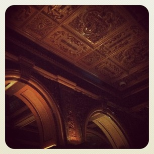 Amazingly decorative molded ceiling at Marble Bar at the Hilton Sydney