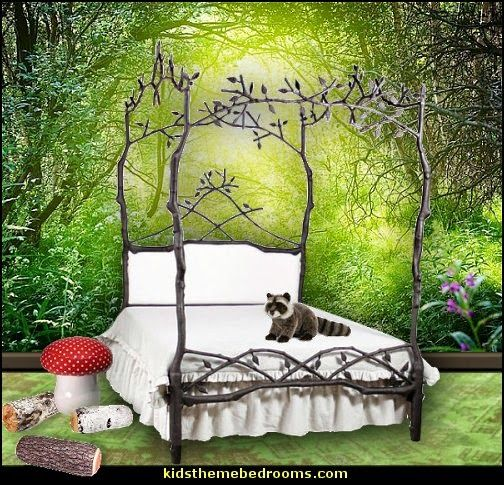 Enchanted Forest Queen Canopy Bed With Upholstered Headboard