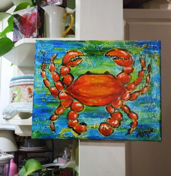 Orange Crab art painting blue red orange ocean beach by AdoraArt, $40.00