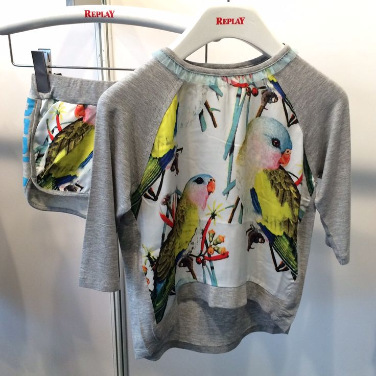 The bird motif for summer 2016 kids fashion is strong at Bubble London here in a sports luxe top and shorts by Replay Kids