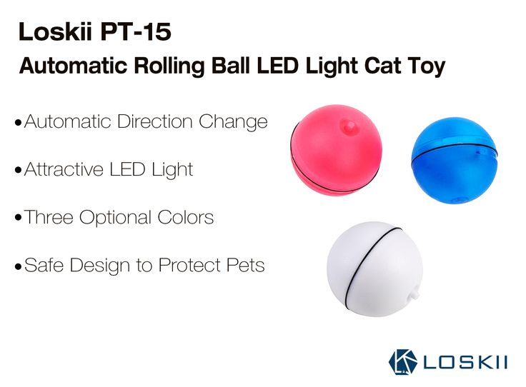 Loskii PT-15 Electronic 360 Degree Self Rotating Ball Automatic Rolling Ball LED Light Pet Cat Toys