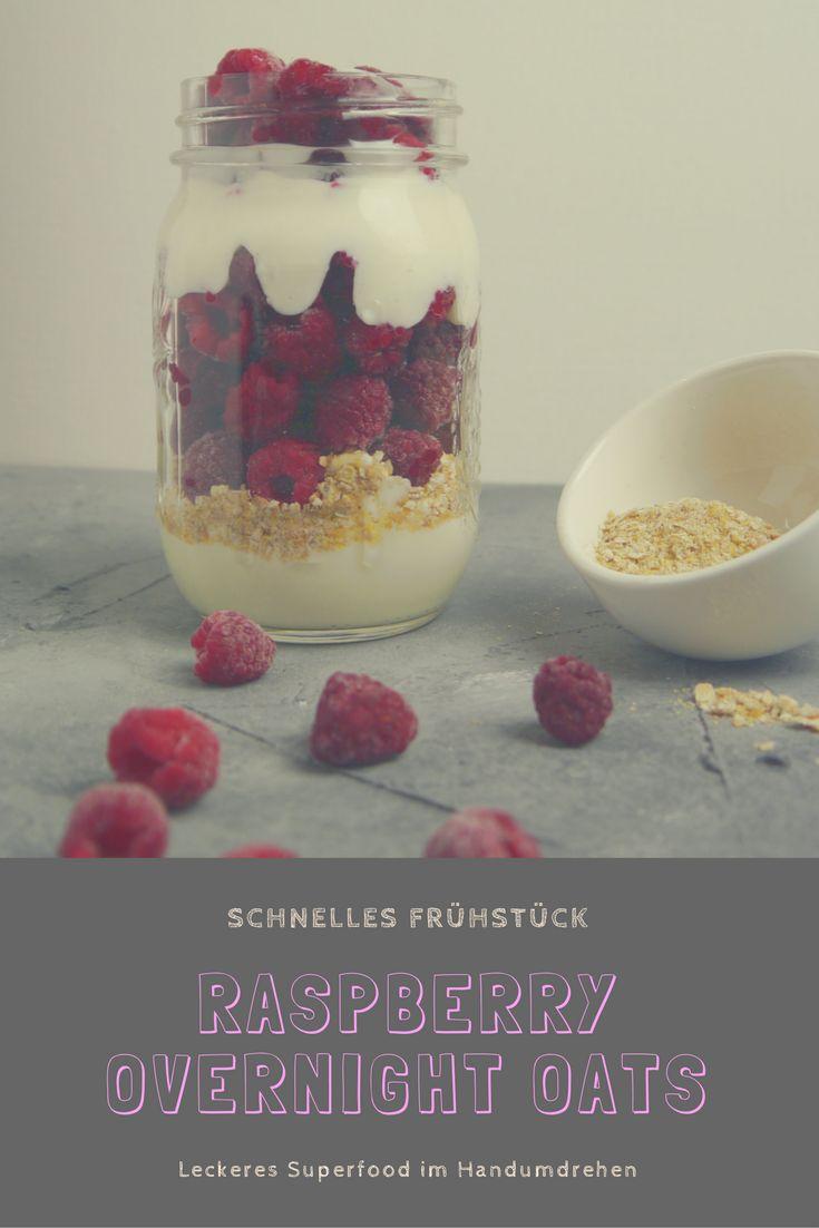 Raspberry Overnight Oats - Schnelle Himbeer Overnight Oats. Gesundes, super leckeres Superfood. #gesund #frühstück #overnightoats #himbeeren