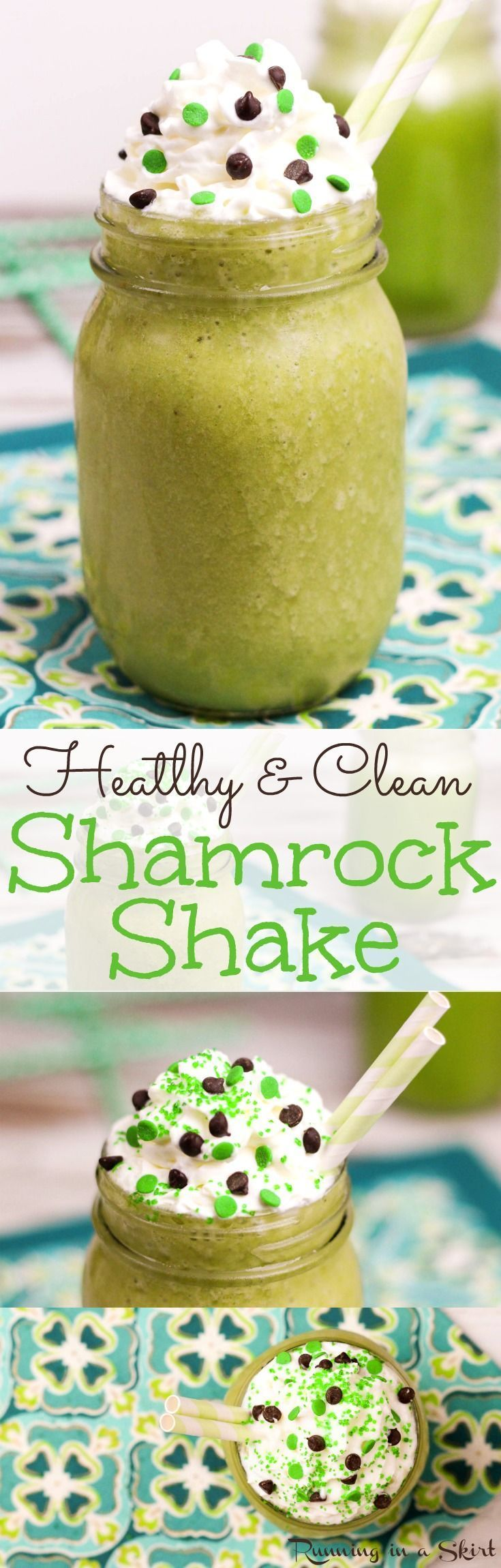 4 Ingredient Healthy Shamrock Shake recipe for St. Patrick's Day! A skinny and clean eating version of McDonald's green smoothie.  Vegetarian and vegan friendly with almond milk and no food coloring - uses spinach instead!  Tastes so good -- you'll  never believe it's good for you! / Running in a Skirt