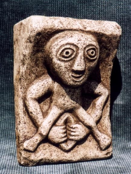 Sheela Na Gig    Taken from the famous 11th century church in Kilpeck, England, this Celtic Goddess figure is thought to have served both as a fertility symbol, a goddess related to death and rebirth and a protector against evil spirits.