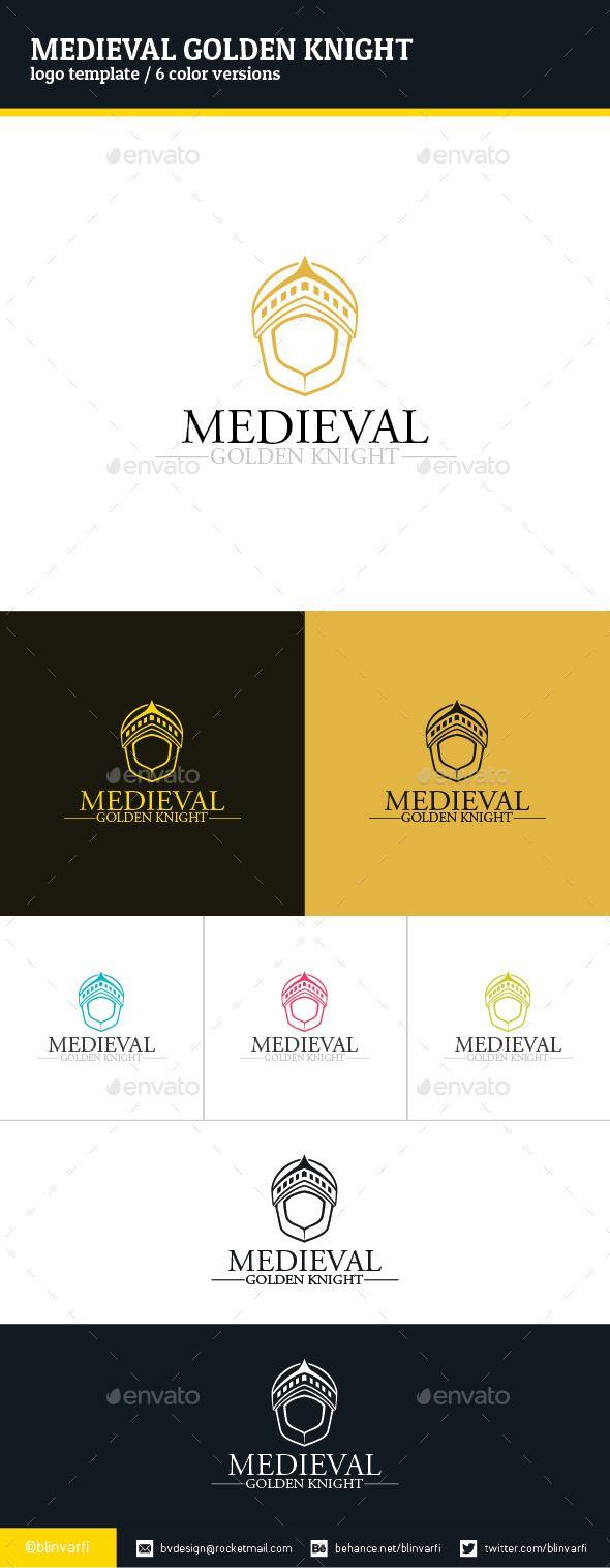 Medieval Golden Knight Logo Template