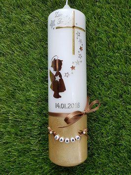 Taufkerze  Engel TK154-a-U Kupfer-Gold-Silber-Champagner Holoflitter – Lisa Ott