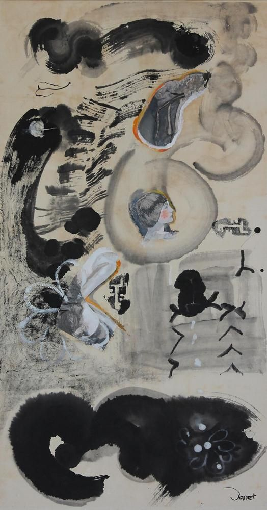 Key To Another World, 2001, 66x106cm<br> Ink/mixed media on rice paper/canvas