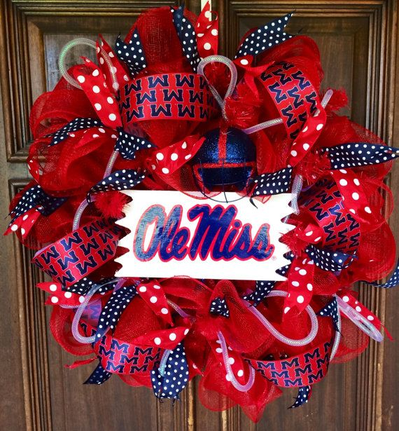 Ole Miss Mesh Wreath by CelebrationWreathsMS on Etsy, $60.00