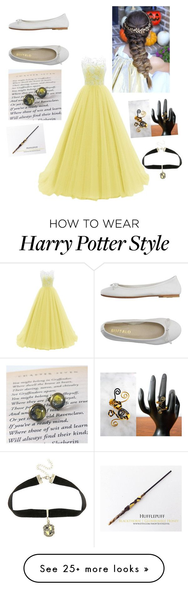"""Hufflepuff yule ball"" by childofolympus-1 on Polyvore featuring DIENNEG and Warner Bros."