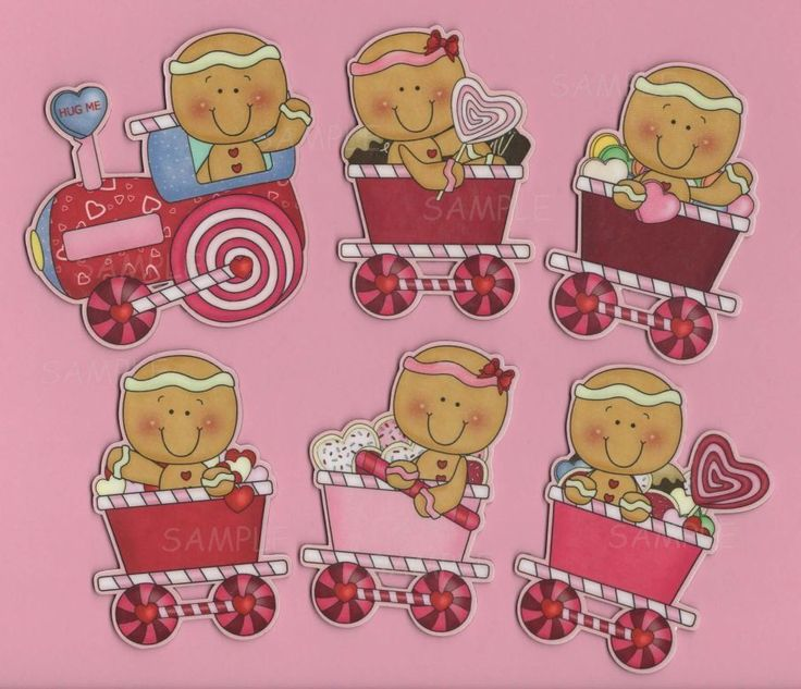 Gingerbread Love Train.. 6 Piece Valentine Gingerbread Magnets