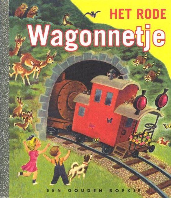 Het rode wagonnetje *** Gouden boekjes  *** De kleine rode wagon komt altijd als laatste. Eerst komt de grote puffende blinkende zwarte locomotief. Dan glijden de goederenwagens en de kolenwagens over de rails. En als laatste altijd maar dat schattige rode wagonnetje. Wat niet wil zeggen dat deze dappere wagon niet heel erg belangrijk is!