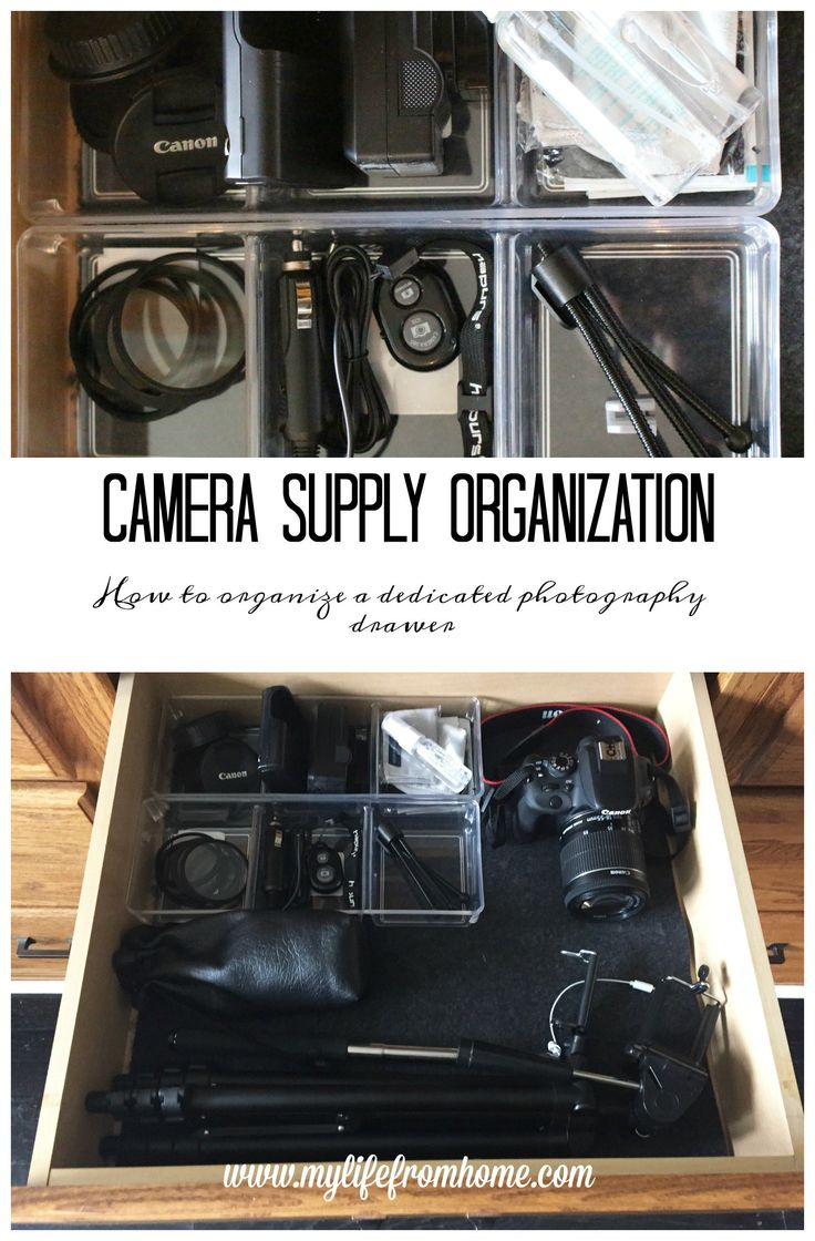 I put together a camera supply drawer to house all of my camera equipment all in one spot. It's organized and ready to go when I need it.