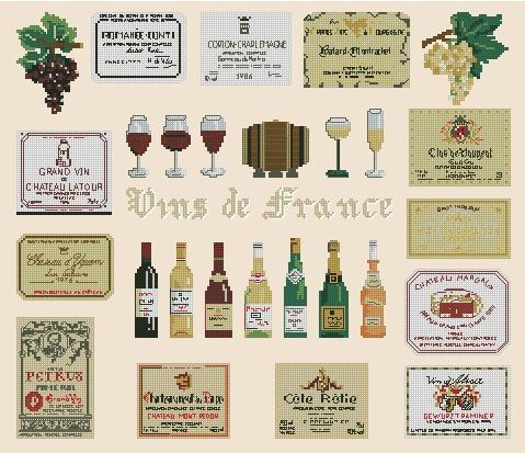 Wines of FranceCross Stitch Pattern Pdf by sunshinehomedecor, $3.99