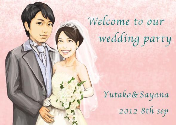 ウェルカムボード 似顔絵 http://wedding.mypic.jp/data/400