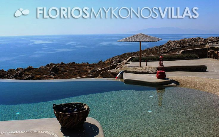In front of the villa, there is a private lagoon-like infinity swimming pool, next to a large wooden shaded pergola. It features a beautiful dining area + traditional wood fire BBQ, offering a perfect entertaining area. FMV1482 Villa for Rent on Mykonos island, Greece. http://florios-mykonos-villas.com/property/fmv1482/