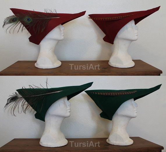 Scarlet Red Medieval Woodsman style felt hat Prince by TursiArt