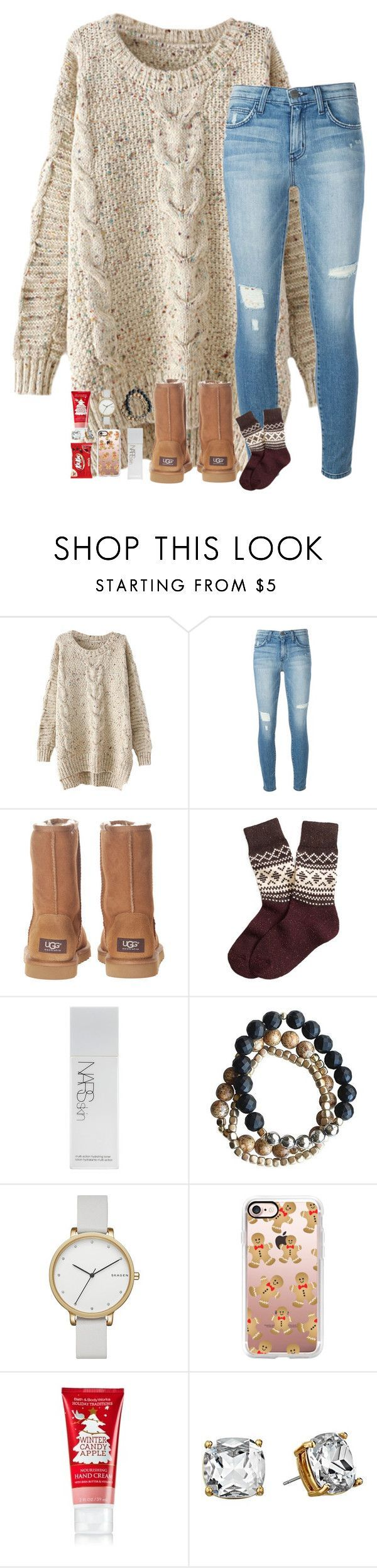 """2 more days till break"" by hailstails ❤ liked on Polyvore featuring Current/Elliott, UGG Australia, Brooks Brothers, NARS Cosmetics, Skagen, Casetify and Kate Spade"