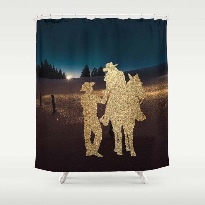 Cowboy And Cowgirl Couple In The Moonlight Shower Curtain By