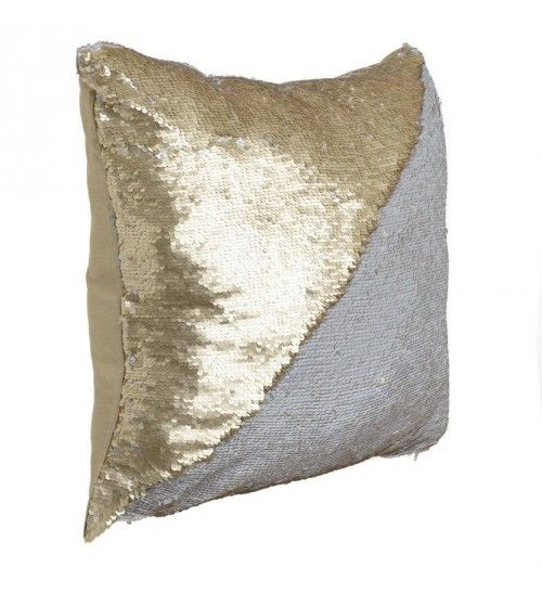 FABRIC PILLOW W_BEADS DOUBLE IN GOLDEN_WHITE 45X45