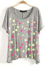 Grey Batwing Short Sleeve Polka Dot T-Shirt $21.45  #SheInside #hipster #love #cute #fashion #style #vintage #repin #follow