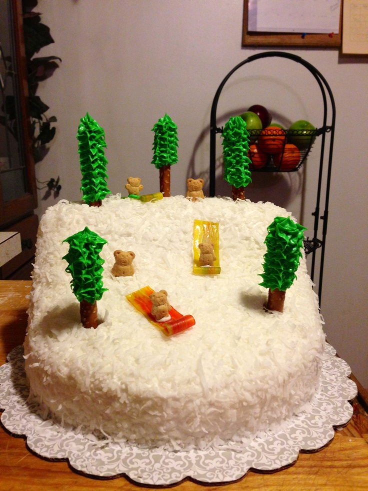 Sledding Theme Cake Coconut Snow Frosting Covered