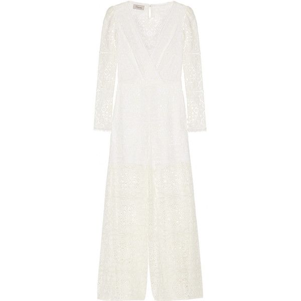 Temperley London Nomi lace jumpsuit (570 CAD) ❤ liked on Polyvore featuring jumpsuits, white wide leg jumpsuit, white floral jumpsuit, white lace jumpsuit, temperley london jumpsuit and wide leg jumpsuits