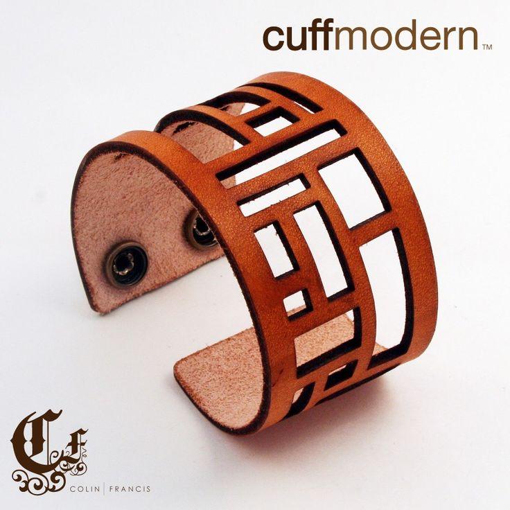 leather laser cut cuff bracelet