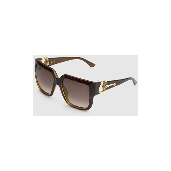 Gucci Oversized Square-Frame Horsebit Sunglasses ($395) ❤ liked on Polyvore featuring accessories, eyewear, sunglasses, dark brown, square & rectangle, women's sunglasses, tortoiseshell sunglasses, plastic sunglasses, rectangular sunglasses and gucci sunglasses