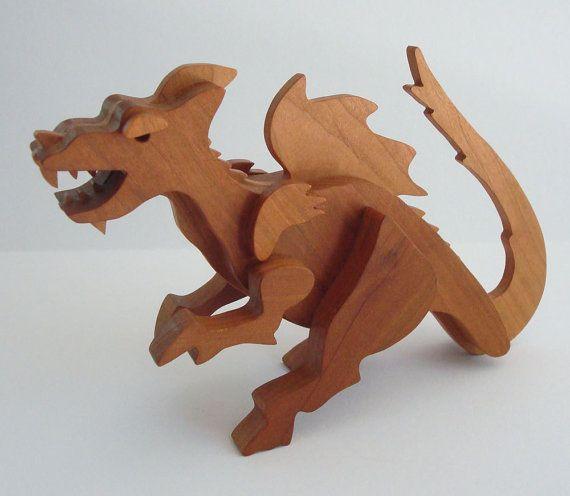 Waldorf Toy Dragon Wood Cherry (for autumn/michaelmas nature table?)