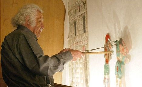 """Eugenios Spatharis ( 1924 - 2009 ).The most prominent """"shadow theatre """" artist in Greece, credited to have brought the traditional KARAGIOZIS to mass audiences"""