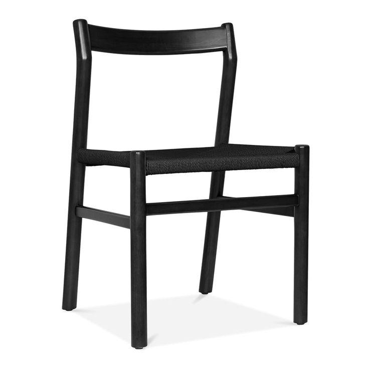 Danish Designs Silla de Comedor de madera Knightsbridge - Negra / Asiento Negro