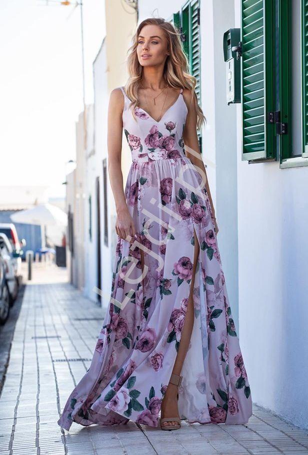 Dluga Suknia Z Odkrytymi Plecami Lila Z Pudrowymi Rozami Megi Emo Maxi Dress Fashion Dresses