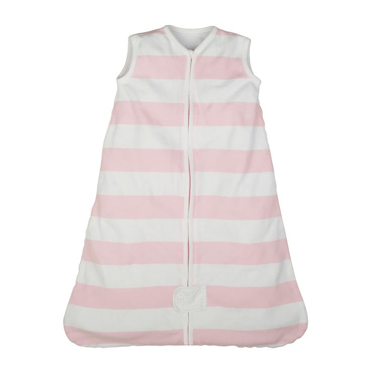 Burt's Bees Baby Organic Cotton Wearable Blanket - Rugby Stripes - Pink - S, Infant Girl's
