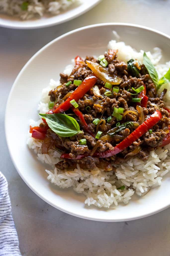 Thai Basil Beef Pad Gra Prow Recipe Thai Basil Beef Ground Beef Cooking Jasmine Rice