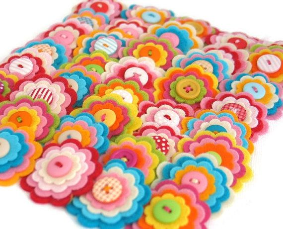 SPECIAL OFFER  20 x Felt Flower by thejellybeanstudio on Etsy